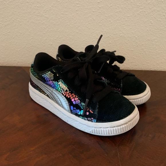 Puma Shoes | Puma Black Suede Rainbow